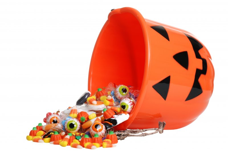 a bucket of Halloween candy
