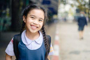 smiling elementary school girl