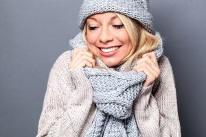 smiling woman in winter clothes